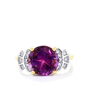 Moroccan Amethyst & White Zircon 9K Gold Lone Star Cut Ring ATGW 3.92cts