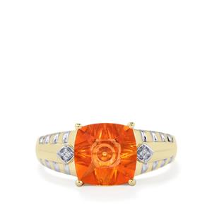 Lehrer QuasarCut Padparadscha Quartz Ring with Diamond in 9K Gold 2.81cts