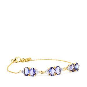AA Tanzanite & Diamond 18K Gold Tomas Rae Bracelet MTGW 4.26cts