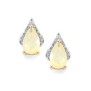Ethiopian Opal & Diamond 9K Gold Earrings ATGW 1.10cts