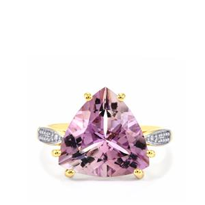 Rose De France Amethyst Ring with Diamond in 9K Gold 6.69cts