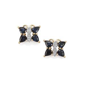 Australian Blue Sapphire Earrings with Diamond in 9K Gold 2.14cts