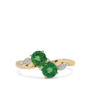 Tsavorite Garnet & White Zircon 9K Gold Ring ATGW 1cts