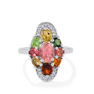 Rainbow Tourmaline & White Zircon Sterling Silver Ring ATGW 2.58cts