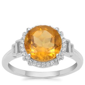 Burmese Amber Ring with White Zircon in Sterling Silver 1.25cts