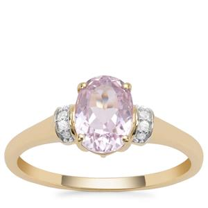 Nuristan Kunzite Ring with Diamond in 9K Gold 1.67cts