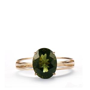Moldavite Ring in 10K Gold 2cts