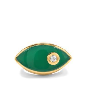Verde Onyx & White Zircon Midas Ring ATGW 11.20cts