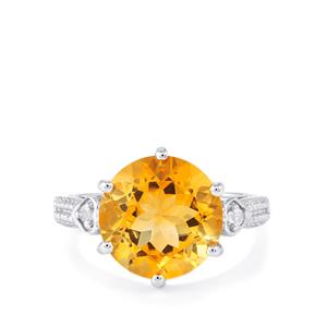 Diamantina Citrine Ring with White Topaz in Sterling Silver 6.08cts