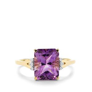Moroccan Amethyst & Diamond 10K Gold Ring ATGW 3.11cts