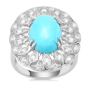 Sleeping Beauty Turquoise Ring with White Zircon in Sterling Silver 5.20cts