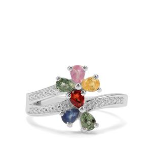 Rainbow Sapphire Ring in Sterling Silver 0.91ct