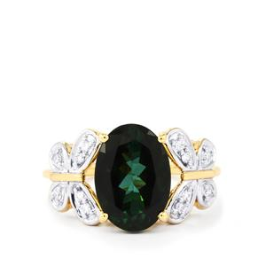 Green Tourmaline Ring with Diamond in 18K Gold 3.76cts