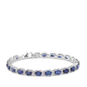 Nilamani & White Zircon Sterling Silver Bracelet ATGW 13.54cts
