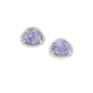 Rose Cut Tanzanite Earrings in Sterling Silver 1.90cts
