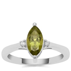 Red Dragon Peridot Ring with White Zircon in Sterling Silver 1.15cts
