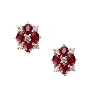 Winza Ruby Earrings with White Zircon in 9K Gold 2.06cts