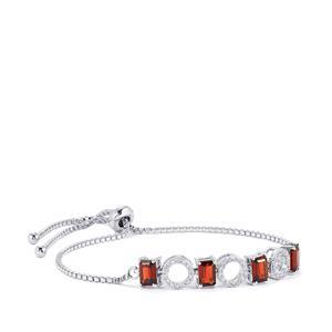 Mozambique Garnet & White Zircon Sterling Silver Slider Bracelet ATGW 3.66cts