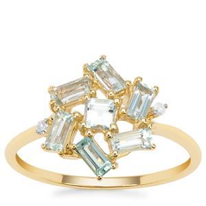Aquaiba™ Beryl Ring with Diamond in 9K Gold 0.81ct