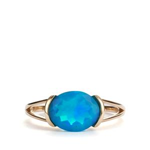 Ethiopian Paraiba Blue Opal Ring in 10K Gold 1.57cts