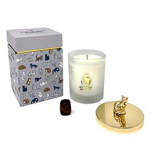 Gem Auras Cat Lovers Candle - Zesty Lime Fragrance - Tigers Eye Gemstone ATGW 90cts