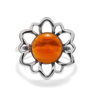 3.06ct American Fire Opal Sterling Silver Ring