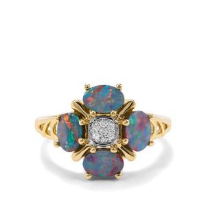 Crystal Opal on Ironstone & Diamond 9K Gold Ring