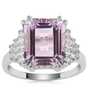 Rose De France Amethyst Ring with White Topaz in Sterling Silver 5.81cts