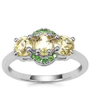Sillimanite Ring with Tsavorite Garnet in Sterling Silver 1.66cts