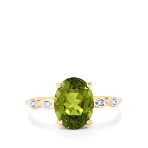 Changbai Peridot Ring with Diamond in 9K Gold 2.67cts