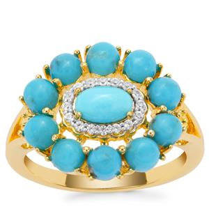 Sleeping Beauty Turquoise Ring with White Zircon in Gold Plated Sterling Silver 2.45cts