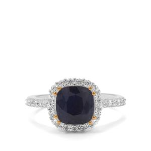 Bharat Sapphire & White Topaz Sterling Silver Ring ATGW 3.40cts
