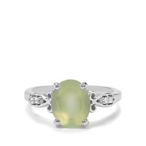 Prehnite & White Zircon Sterling Silver Ring ATGW 2.80cts