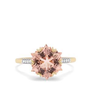 Wobito Snowflake Cut Peach Morganite & Diamond 9K Gold Ring ATGW 4.46cts