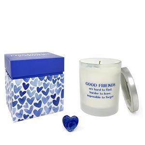 Gem Auras International Friendship Day Candle - Chrysanthemum Fragrance with a Carved Lapis Lazuli Heart ATGW 109cts