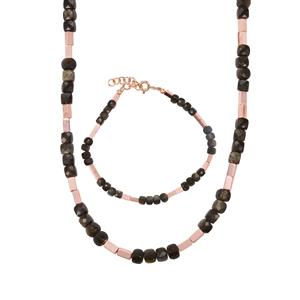 Gold Obsidian & Rose Gold Haematite Sterling Silver Set of Bracelet & Necklace ATGW 62.02cts