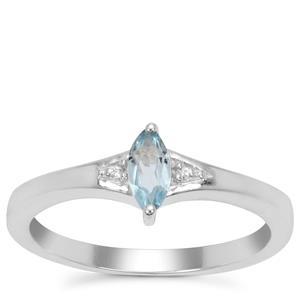 Pedra Azul Aquamarine Ring with White Zircon in Sterling Silver 0.23ct
