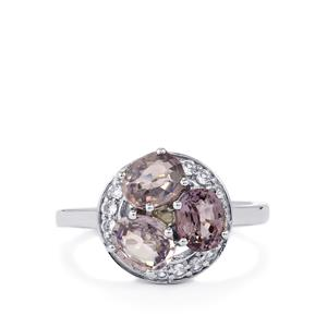 Burmese Spinel & White Zircon Sterling Silver Ring ATGW 2.72cts