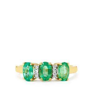 Zambian Emerald & White Zircon 9K Gold Ring ATGW 1.34cts