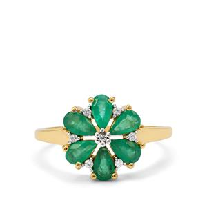 Zambian Emerald Ring with White Zircon in 9K Gold 1.25cts