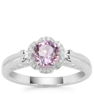 Rose du Maroc Amethyst Ring with White Zircon in Sterling Silver 0.83cts