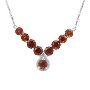Madeira Citrine & White Zircon Sterling Silver Necklace ATGW 5.93cts