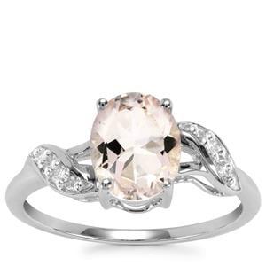 Alto Ligonha Morganite Ring with Diamond in 9K White Gold 1.61cts
