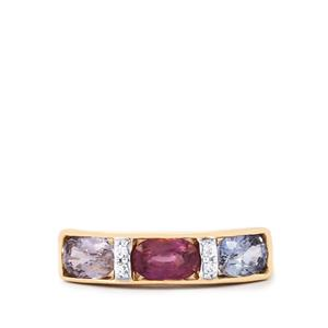 Natural Umba Sapphire Ring with White Zircon in 9K Gold 1.93cts