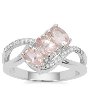 Peach Morganite Ring with White Zircon in Sterling Silver 1.34cts