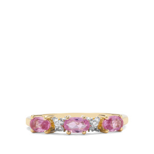Pink Sapphire & White Zircon 9K Gold Ring ATGW 0.78cts