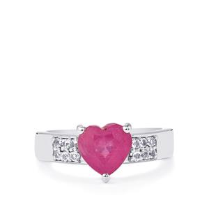 Ilakaka Hot Pink Sapphire & White Topaz Sterling Silver Ring ATGW 2.72cts (F)