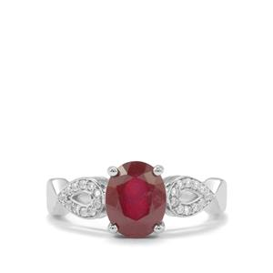 Thai Ruby Ring with White Topaz in Sterling Silver 2.79cts (F)
