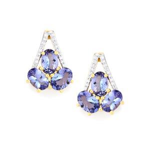 AA Tanzanite Earrings with Diamond in 18k Gold 3.39cts