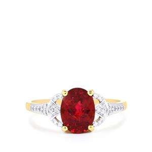 Cruzeiro Rubellite Ring with Diamond in 18K Gold 1.55cts